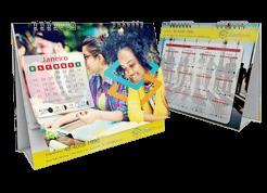calendário de mesa com base personalizável